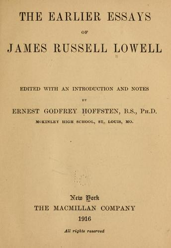 Download The earlier essays of James Russell Lowell