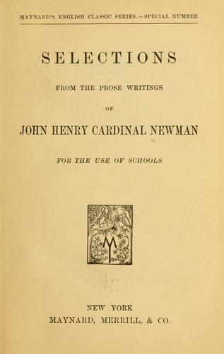 Download Selections from the prose writings of John Henry, cardinal Newman