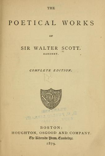 The poetical works of Sir Walter Scott, baronet.