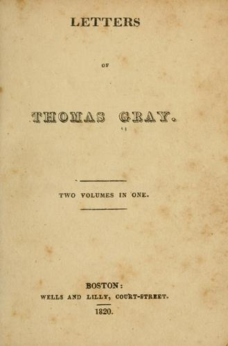 Download Letters of Thomas Gray.