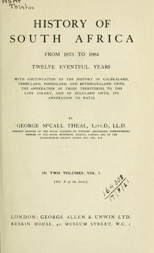 History of South Africa, from 1873 to 1884