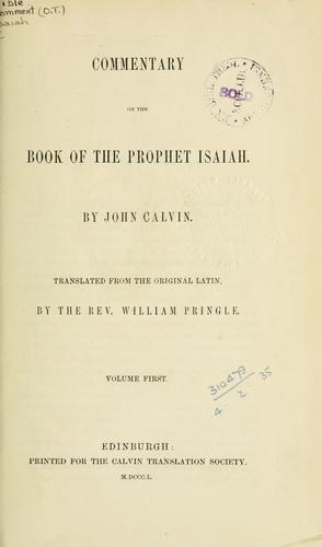 Commentary on the book of the Prophet Isaiah