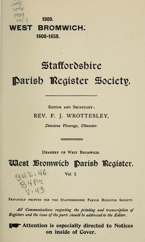 West  Bromwich parish register. by West Bromwich (England)