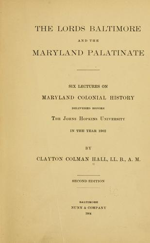 The lords Baltimore and the Maryland palatinate