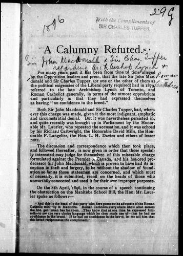 A Calumny refuted by Tupper, Charles Sir