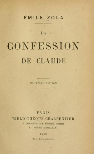 La confession de Claude by Émile Zola