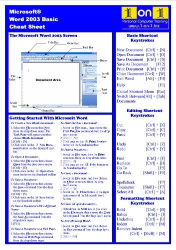 Microsoft Word 2003 Basic Cheat Sheet by Chris Le Roy